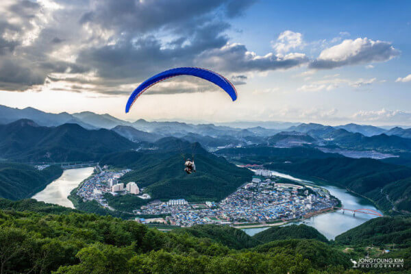 Paraglide in the picturesque Danyang, South Korea