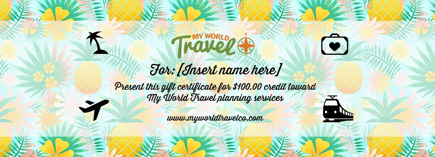 My World Travel Gift Certificate My World Travel Co
